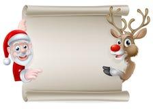 Santa Reindeer Scroll Royalty Free Stock Image