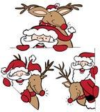 Santa and Reindeer Set Stock Photography