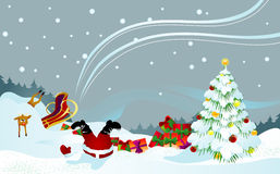 Santa and reindeer shipwrecked Royalty Free Stock Images