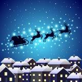 Santa reindeer silhouette on night city stock illustration