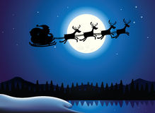 Santa and Reindeer Sillhouette. Illustration of Silhouette Flying Santa and Christmas Reindeer Stock Images