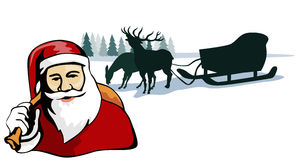 Santa with reindeer and sleigh Royalty Free Stock Photo
