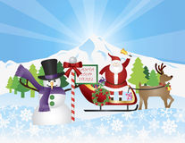 Santa on Reindeer Sleigh With Snow Scene Royalty Free Stock Image