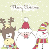Santa, Reindeer, Snow Man. Vector Illustration Stock Photos