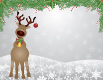 Santa Reindeer Snow Scene with Garland. Santa Reindeer with Bow Holly Christmas Ornament with and Garland with Candy Cane on Snowflakes Background Illustration Royalty Free Stock Photos
