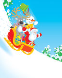 Santa, Reindeer and Snowman. Santa Claus, Reindeer and Snowman sliding downhill in a sleigh with Christmas gifts vector illustration