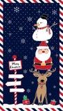 Santa reindeer snowman at night Royalty Free Stock Image