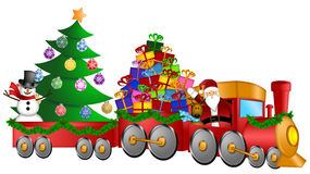 Santa Reindeer Snowman Train Gifts Christmas Tree. Santa Claus and Reindeer Delivering Gifts in Red Train with Snowman and Christmas Tree Illustration Royalty Free Stock Photo