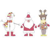 Santa, Reindeer, Snowman. Vector Illustration Stock Photography