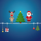 Santa reindeer tree twine blue background Stock Photos