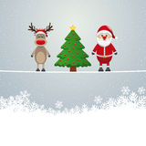 Santa reindeer tree twine snowy background Stock Image