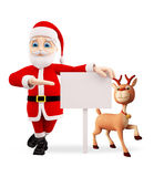 Santa and Reindeer with white board Royalty Free Stock Image