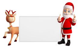 Santa and Reindeer with white board Royalty Free Stock Photos