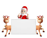 Santa and Reindeer with white board Stock Photos