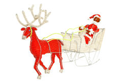 Santa & Reindeer wire and beadwork decoration. Reindeer pulling Santa and sleigh made from traditional african wire and beadwork stock photography