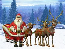 Santa with reindeers Stock Photo