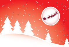 Santa and reindeers. Santa and deers with a moon background royalty free illustration