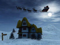 Santa and reindeers. Santa Claus with his reindeers in the sky on a starry night Stock Photography