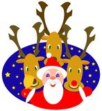 Santa and reindeers. Vector illustration Stock Photo
