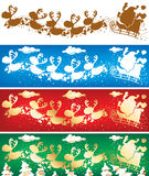Santa and reindeers banners Stock Photo