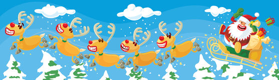 Santa and reindeers in a hurry Royalty Free Stock Image