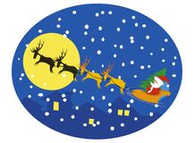 Santa and reindeers on moon. Vector illustration stock illustration
