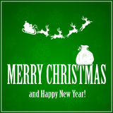 Santa with reindeers and sack on green background Stock Image