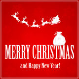 Santa with reindeers and sack. Red background with Santa, reindeers and a sack on the letters, illustration Stock Photos