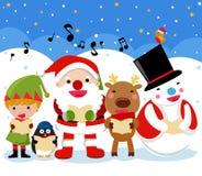 Santa, rena, homem da neve, duende e pinguim, Natal ilustração stock