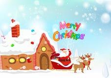 Santa, renifer, fantazji śnieżny spada plakatowy pojęcie z Wesoło ilustracja wektor