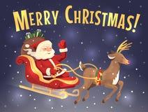 Santa renifer i sanie Fotografia Royalty Free