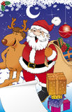 Santa and reno. Santa with gifts and reno Royalty Free Illustration