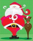 Santa retro e Rudolph Imagens de Stock Royalty Free