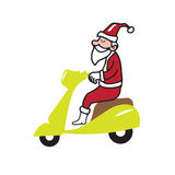 Santa ridding scooter Stock Photography
