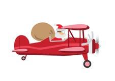 Santa_Ride_Plane Photo libre de droits