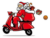 Santa ride a scooter Stock Image