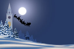 Santa Rides Again. Santa Claus make his night ride on Christmase Eve stock illustration