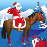 Santa on Horseback. Santa rides on a horse with a bag of gifts on a background of mountains and trees Royalty Free Stock Images