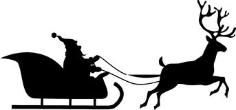 Santa rides in a sleigh royalty free illustration