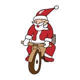 Santa riding bike Stock Image