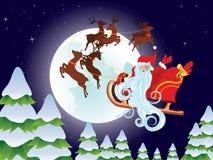 Santa Riding Christmas Sleigh at Night Stock Images
