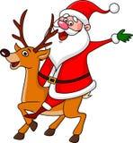 Santa riding deer stock illustration