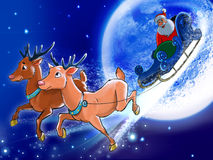 Santa is riding deers on the back of the Moon. Stock Image