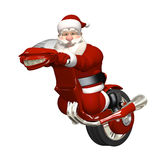 Santa Riding Futuristic Monocycle Stock Photo