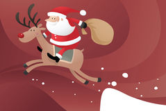 Santa riding Reindeer. Santa Claus riding Reindeer jumping from the snow Royalty Free Stock Images