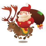 Santa riding reindeer with presents Royalty Free Stock Image