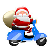 Santa riding a scooter Royalty Free Stock Image