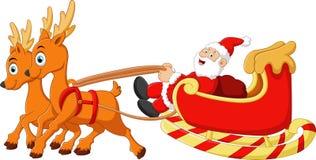 Santa riding sledge cartoon Royalty Free Stock Images