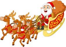 Santa riding sledge cartoon Royalty Free Stock Photography