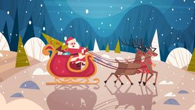 Santa Riding Sledge With Reindeers In Forest, Merry Christmas And Happy New Year Banner Winter Holidays Concept Stock Photography